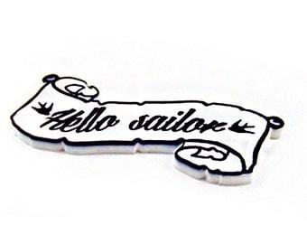 Hello Sailor laser cut printed charm