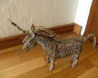 Wire Sculpture African Beaded Animal  - UNICORN SMALL - Multicolor