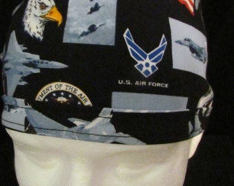U.S. Air Force Military USA Tie Back Surgical Scrub Hat Cap