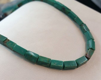 """Stabilized Chinese Turquoise Rectangular Smooth 3.5x7.5mm, 13.9grams, 16""""L"""