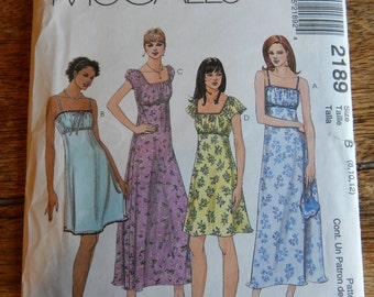 McCall's 2189 Misses' dress pattern with empire waistline  Sizes 8, 10 and 12  Uncut