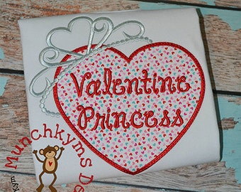 Personalized Valentine's Day Heart with Princess Crown Applique Shirt or Onesie Girl or Boy