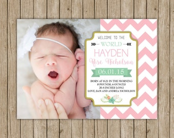 Custom birth announcement with chevron- digital file 5x7