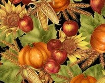Per Yard, Autumn Glow Harvest Fabric Black With Metallic Gold