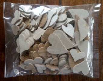 Random Hearts - A Fantastic Pack of 120 MDF Hearts - Assorted Sizes & Shapes For All Your Craft Projects! FREE SHIPPING!!