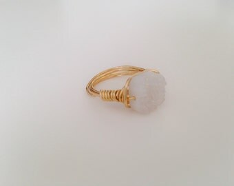 White Druzy Wire Wrapped Ring