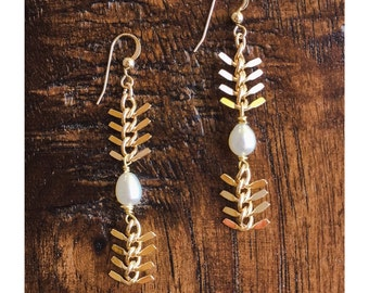 gold chain and genuine pearl, fishbone earrings, tribal earrings, spine chain pearl earrings