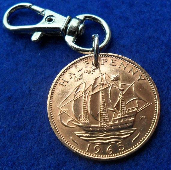 50th Birthday Present 1966 Half Penny Coin Keyring By