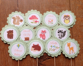 Forest Friends Personalised Cupcake Toppers