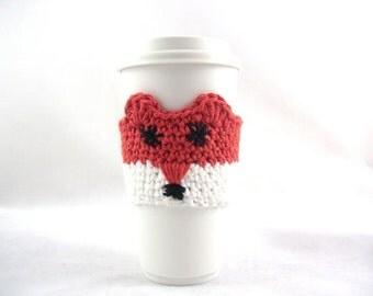 EASY Crochet PATTERN, Fox Travel mug sleeve / Red scarf  / coffee mug cozy / travel cup sleeve / travel mug cozy / coffee cup sleeve