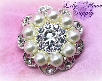 Five Rhinestone Buttons - Clear Rhinestone - Flatback Rhinestone Button - Set of 5 - Metal Rhinestone - Pearl Button - Wholesale - Clear