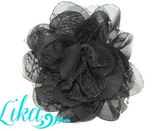 Black Lace Flower - Chiffon Flower - Lace rose - Shredded Lace Flower - Wholesale - Supply - DIY- 3.75 inch