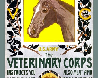 WWI US Army Veterinary Corps, 8x10 Satin Prints,  Fond of Horses, Equine