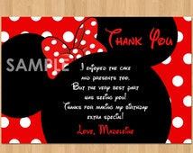 Minnie Mouse Thank You Card, Personalized Minnie Thank You Card Note, DIY Minnie Mouse Printable Thank You matches Birthday Party Invitation