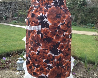 Vintage Bold Orange and Black Floral Print Half Apron Pinny with Frill And Patch Pocket - Handmade - Free Postage