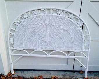 Full White Wicker Headboard