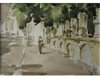 Deserted street - Summer in the City - original watercolor