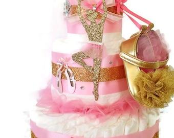 Designer Ballerina Diaper Cake in Pink and Gold, Ballerina Baby Shower Centerpiece