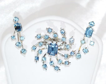 Vintage Coro Blue Brooch and Earrings Set