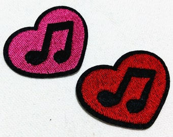 Cutie Red Pink Music Heart (5 x 4 cm) Full Embroidered Iron on Applique Patch (ALB)