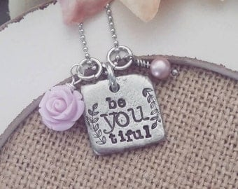 Hand Stamped Jewelry-Personalized necklace-Hand Stamped Pewter Necklace-Be.you.tiful-BeYOUtiful- be you tiful