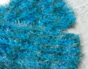 Fun, Furry Crochet Scarf in Blue - Ready to Ship!