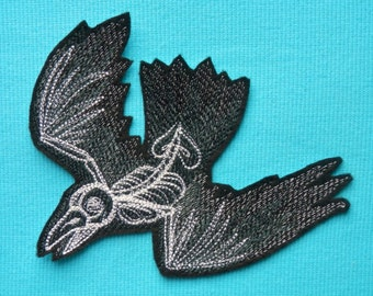 "Skeleton Bird, Iron On Patch, Day of the Dead,Dia de los Muertos,  Large 5 1/4"" X 5 3/4"", Tattoo, Motorcycle, Embroidered, Gothic"
