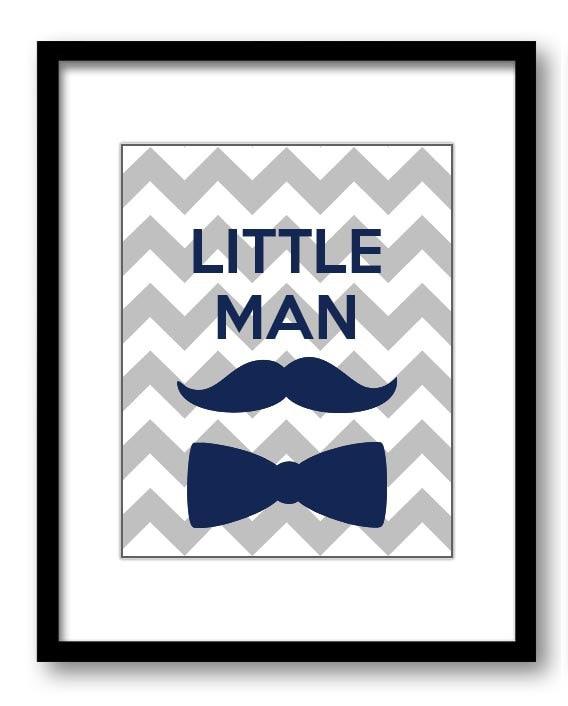 Navy Blue Grey Gray Little Man Nursery Art Nursery Print Mustache Bowtie Child Baby Art Print Boys K