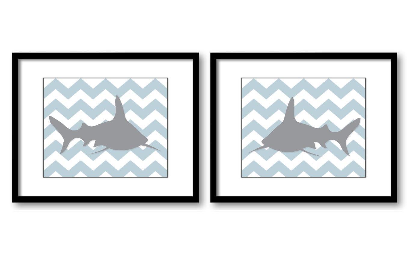 Shark Nursery Art Nursery Print Set of 2 Sharks Blue Grey Child Art Prints Sea Ocean Marine Animal B