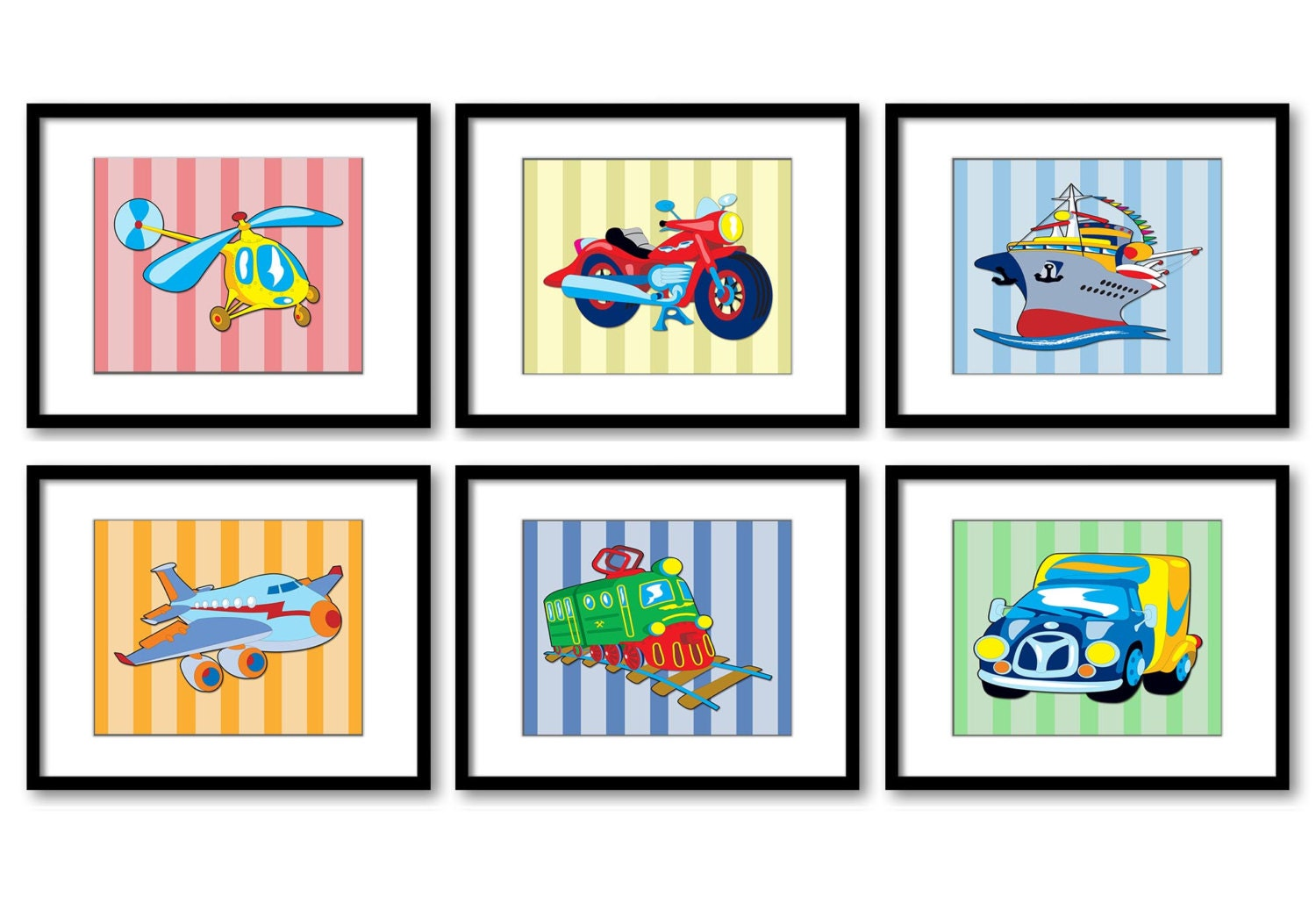 Transportation Vehicles Nursery Print Child Stripes Baby Boy Art Set of 6 Helicopter Motorcycle Airp