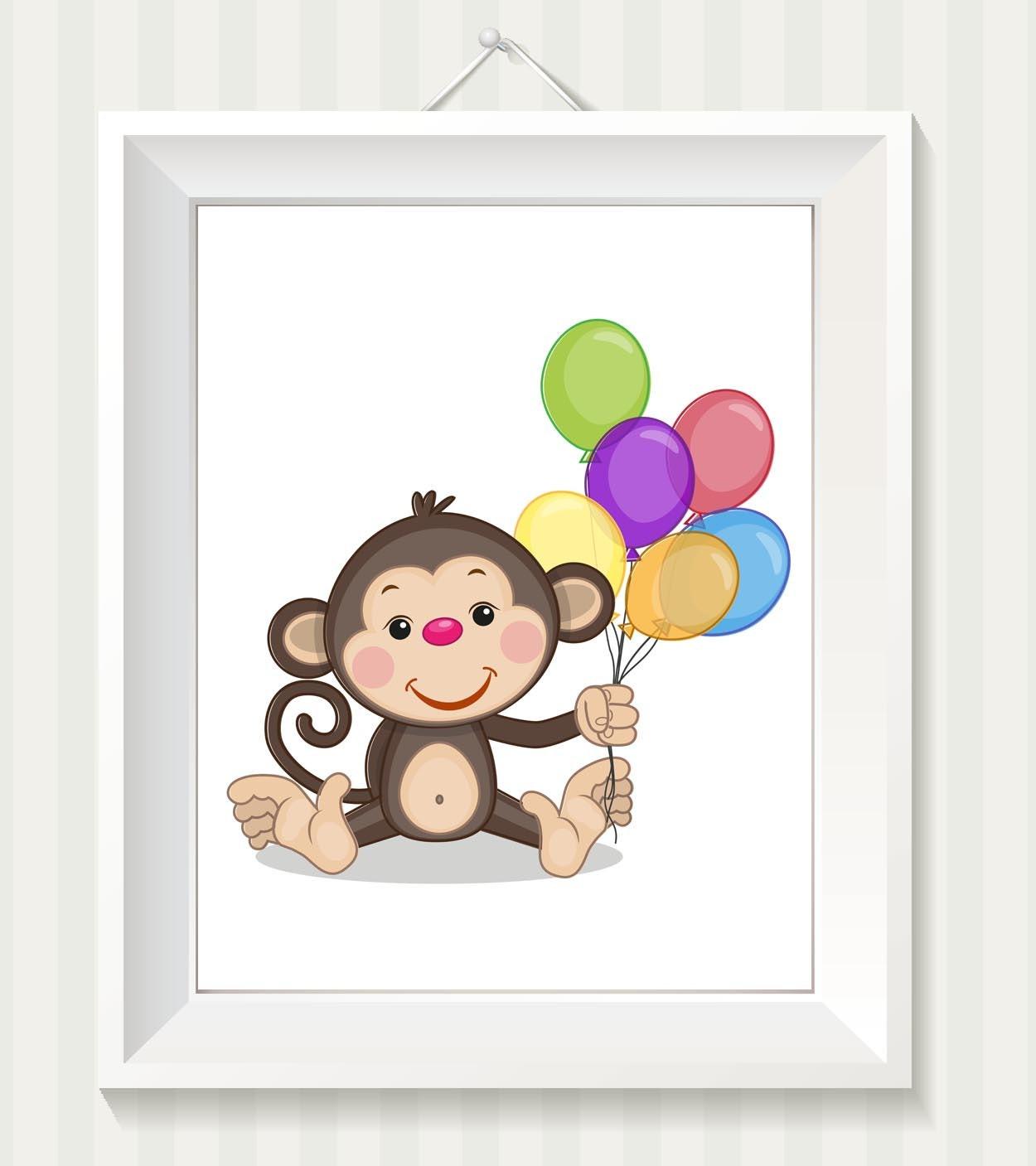 Monkey Nursery Art Monkey Nursery Print Baby Art Baby Animal Brown Beige Balloons Print Child Kids W