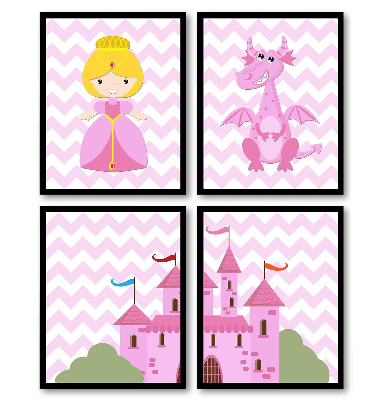 Fairy Tale Nursery Art Child Baby Set of 4 Art Prints Pink Chevron Girl Princess Dragon Castle Kids