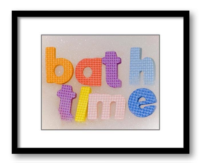 Bath Time Bathroom Art Print Sponges Bubbles Bath Bathtub Tub Child Baby Kids Room Nursery Art Nurse