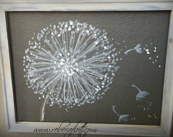 Recycled screen ,Dandelion Painting ,Dandelion Flower,Wall Art