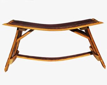 Outdoor Garden Bench/ Wine barrel furniture/ Outdoor furniture/ Patio Bench/ Patio Furniture/ Home Decor/ Stave Bench/ Stool/