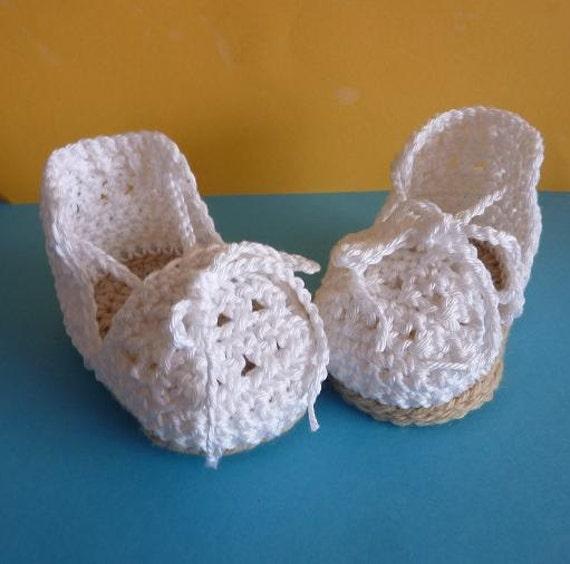 Artículos similares a Alpargatas de crochet ganchillo para bebes en Etsy