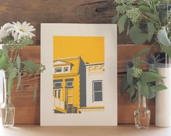 Bright & Colorful Richmond Virginia Print of Fan Row Houses