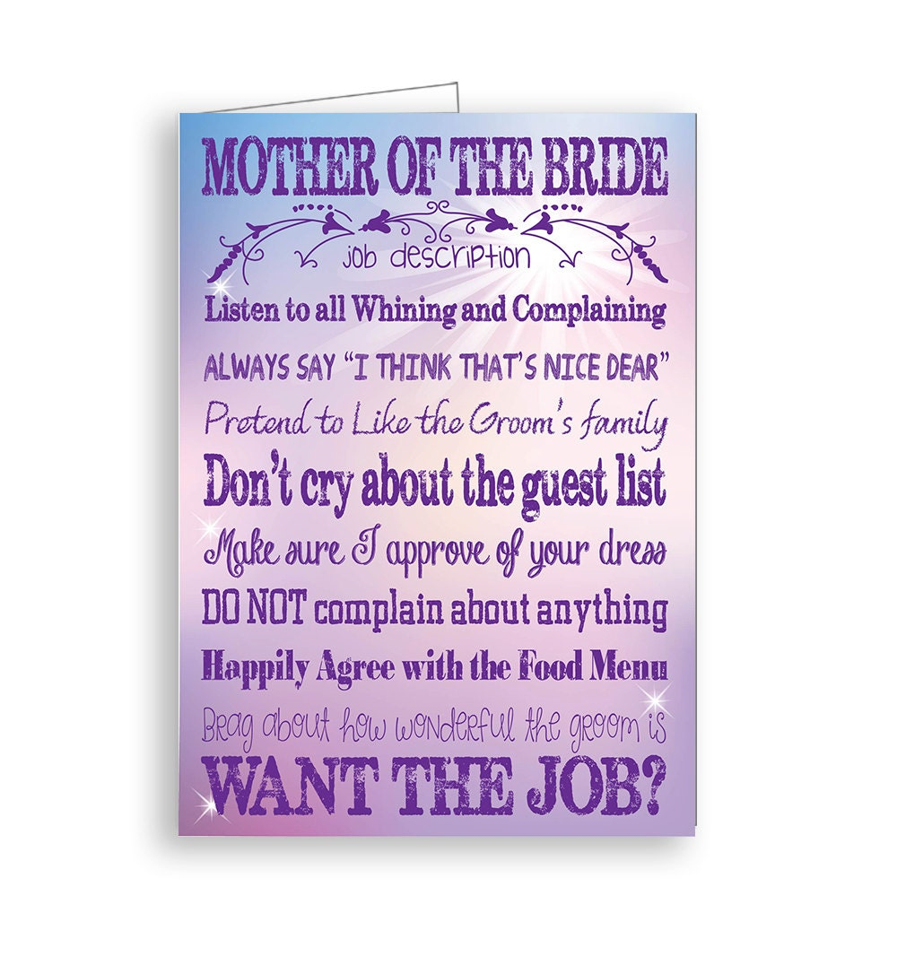 Mother Of The Bride Card Printable With Job Description For