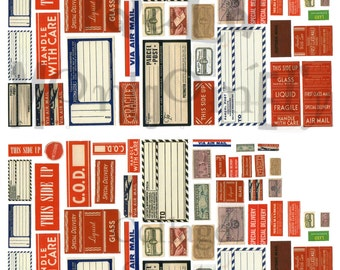 Vintage Parcel Box/Mailing Labels Digital Download Collage Sheet