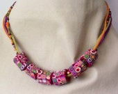 Handcrafted multi color polymer clay necklace set