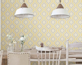 Light Removable self-adhesive colourful vinyl Wallpaper wall decal - Ogee pattern sticker C009