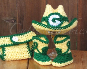 Green Bay Packers Baby Crochet Cowboy/ Cowgirl Costume Hat, Boots & Diaper Cover Photo Prop