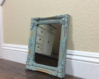 MIRROR, Blue Mirror, French Provincial, Mirror, Chic Decor, Wall Mirror, Nursery Decor, Ornate Mirror, Wood Framed Mirror