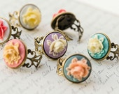 The Roselia - Resin cameo rose adjustable ring