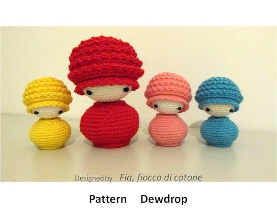 Pattern Dewdrop kokeshi doll amigurumi crochet
