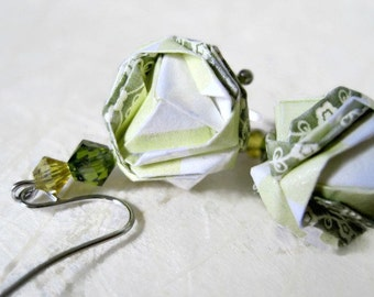 Brocade Earrings - Origami Jewelry - Paper Earrings - Origami Earrings - Paper Jewelry - gift for her