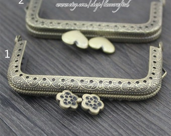 1pc 8.5cm/3.35 inch plum blossom heart head coining bronze square metal purse frame