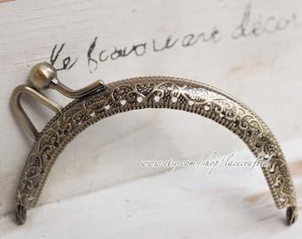 2pcs 8.5cm vintage coining bronze half round sewing hole double bobble metal purse frame bag frame metal frame tote frame