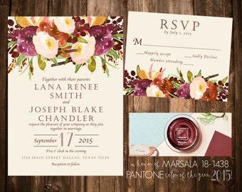 Marsala Floral Wedding Invitation Set; Printable OR set of 25