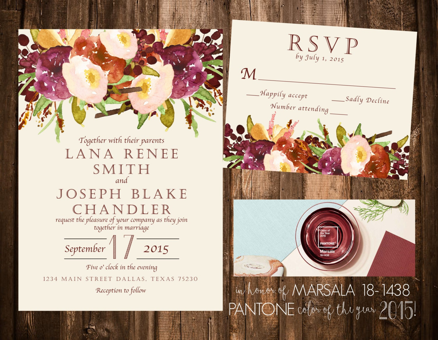 Printable Wedding Invitation Sets: Marsala Floral Wedding Invitation Set Printable OR Set Of 25